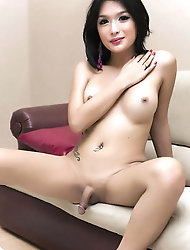 Pretty-looking tgirl girlfriends are fingering their warm arsehole